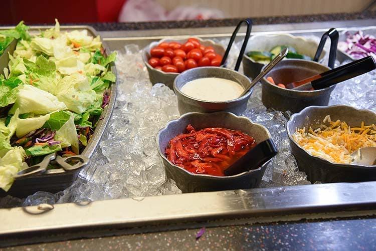 salad bar at Chuck E. Cheese's