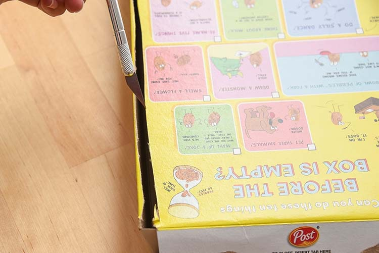 DIY Cupcake Kit Cereal Box Project - Cutting