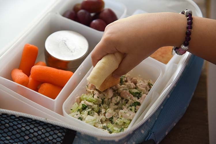 Pita with Easy Chicken Salad Recipe for Back to School with PackIt Lunch Box