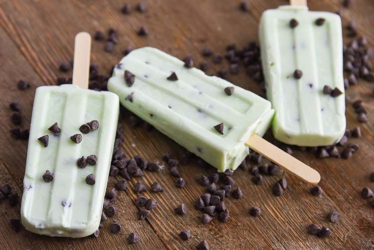Mint Chocolate Chip Popsicles, YUM