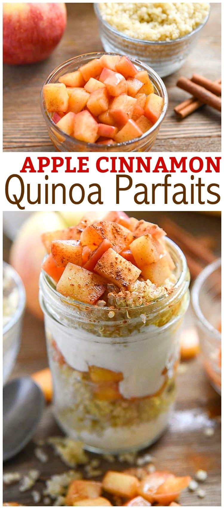 Homemade Apple Cinnamon Quinoa Parfaits, enjoy this delicious fall treat with freshly picked apples!