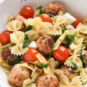 Warm Pasta Salad with Meatballs