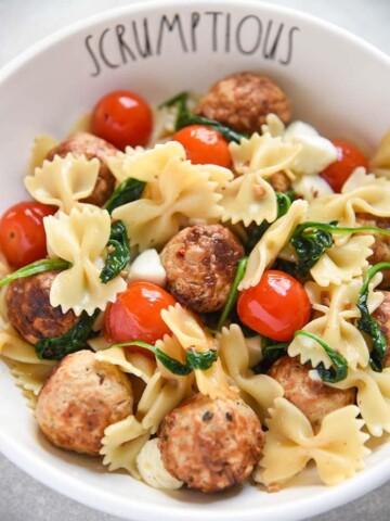 Warm Pasta Salad with Meatballs