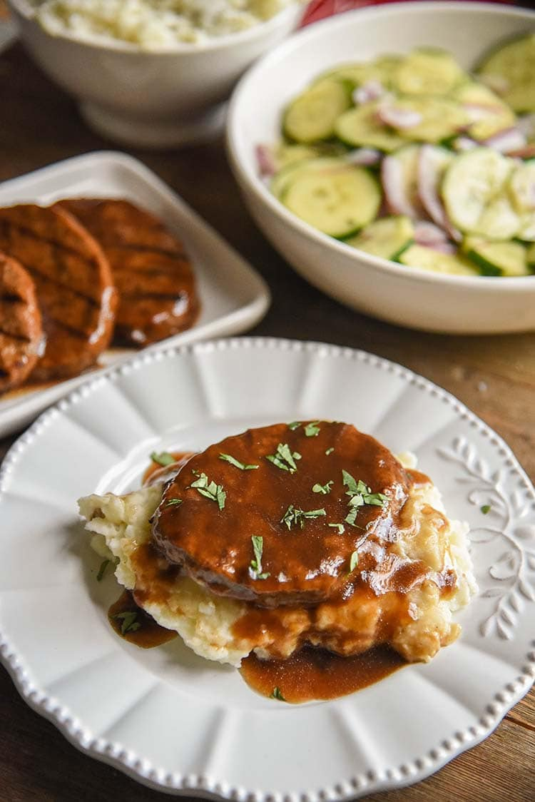 Salisbury Steak with Cream Cheese Mashed Potatoes