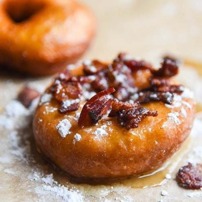 French Toast Donuts with Bacon