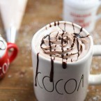 Chocolate Drizzled Hot Chocolate Whipped Cream with Hot Cocoa