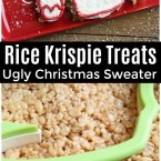 This Rice Krispie Treats Ugly Christmas Sweater is a fun DIY for your next holiday party! Let your guests decorate their Rice Krispie Treat and then have fun seeing all the ugly sweater decorations!
