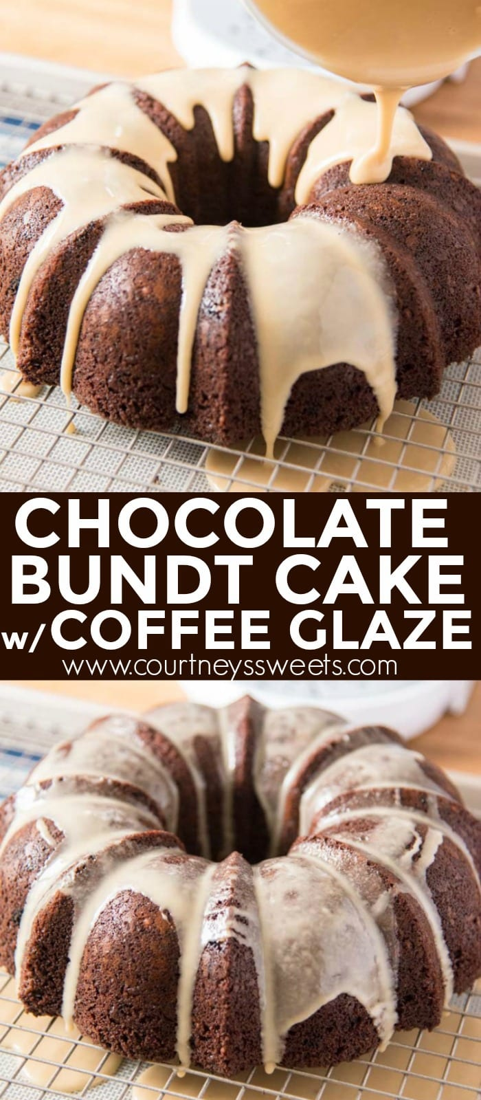 A rich and chocolate bundt cake with a sweet coffee glaze, this will remind you of eating a fresh baked glazed donut.