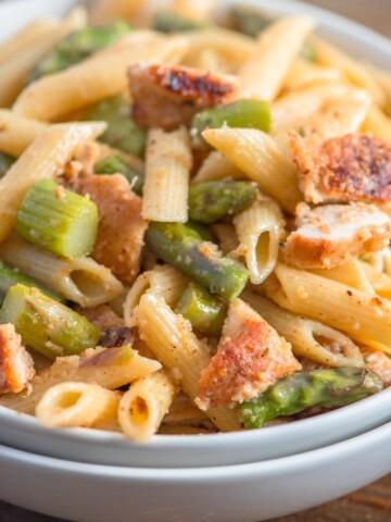 bread chicken asparagus pasta recipe