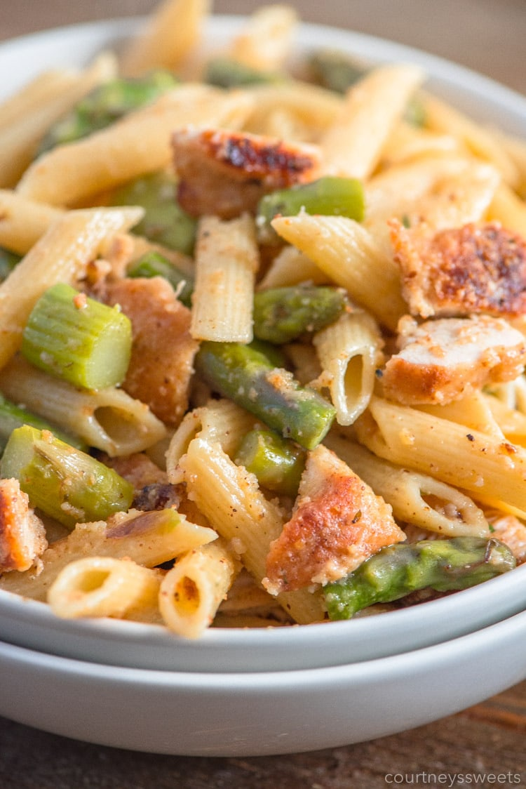 breaded chicken breasts and asparagus pasta recipe