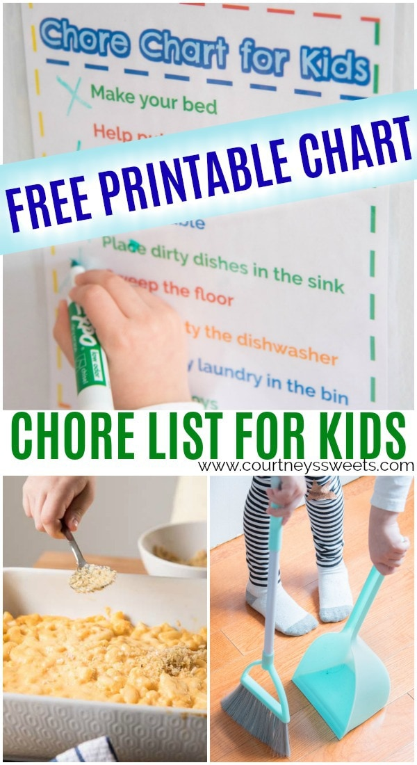 free printable chore list for kids