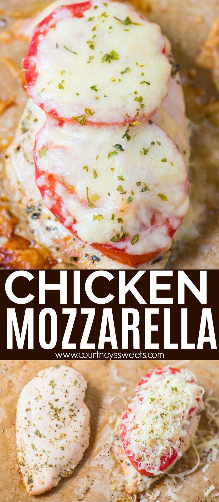 Chicken Mozzarella is an easy chicken breast recipe using Italian seasonings, freshly grated mozzarella, and juicy garden tomatoes.