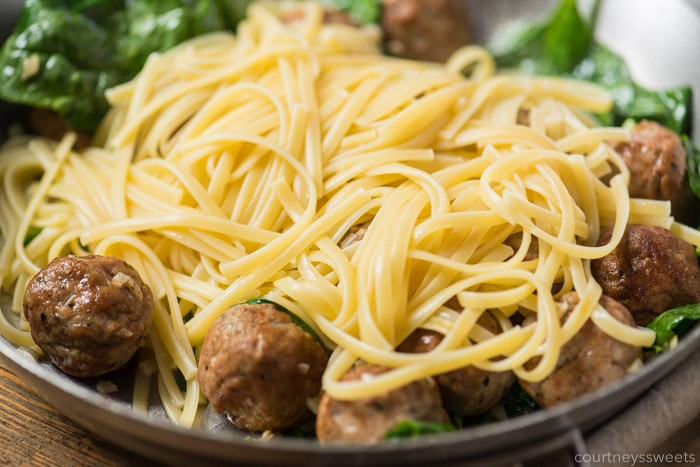 easy pasta dinner garlic olive oil pasta with meatballs and spinach recipe