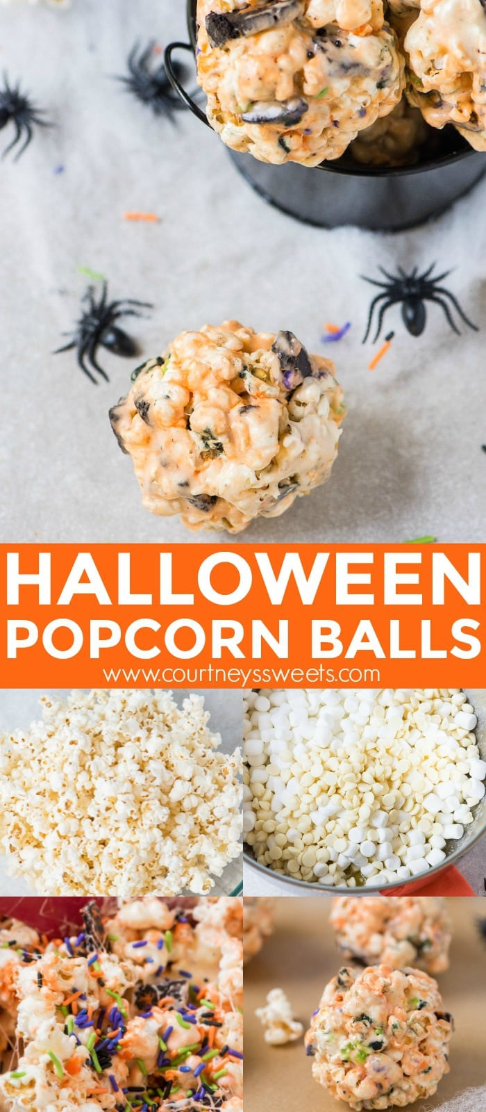 Make our Halloween Popcorn Balls for a fun Halloween treat! Marshmallow popcorn balls with Oreo cookies, white chocolate, and Halloween sprinkles!
