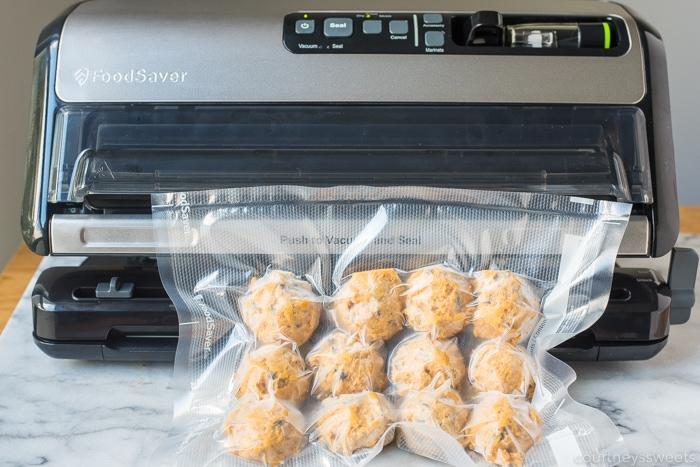 freezing pumpkin chocolate chip cookies and vacuum sealing in foodsaver