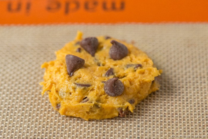pumpkin chocolate chip cookie dough on a silpat