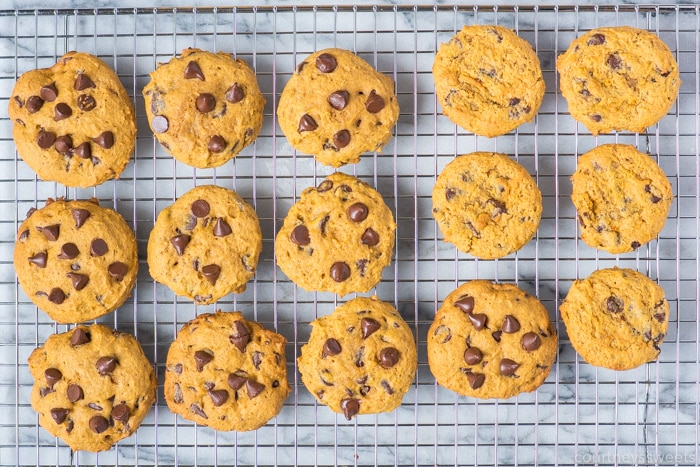 pumpkin chocolate chip cookies on a cooling rack