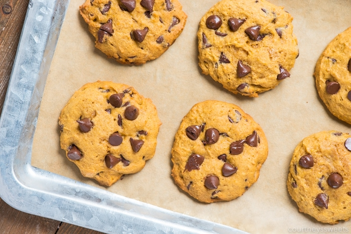 homemade pumpkin chocolate chip cookies on parchment paper on a sheet pan