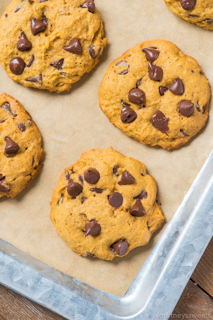 pumpkin chocolate chip cookies on parchment paper on a sheet pan