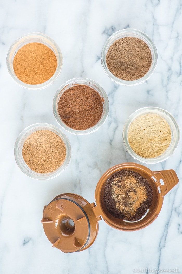 spices in mason jars for pumpkin spice coffee