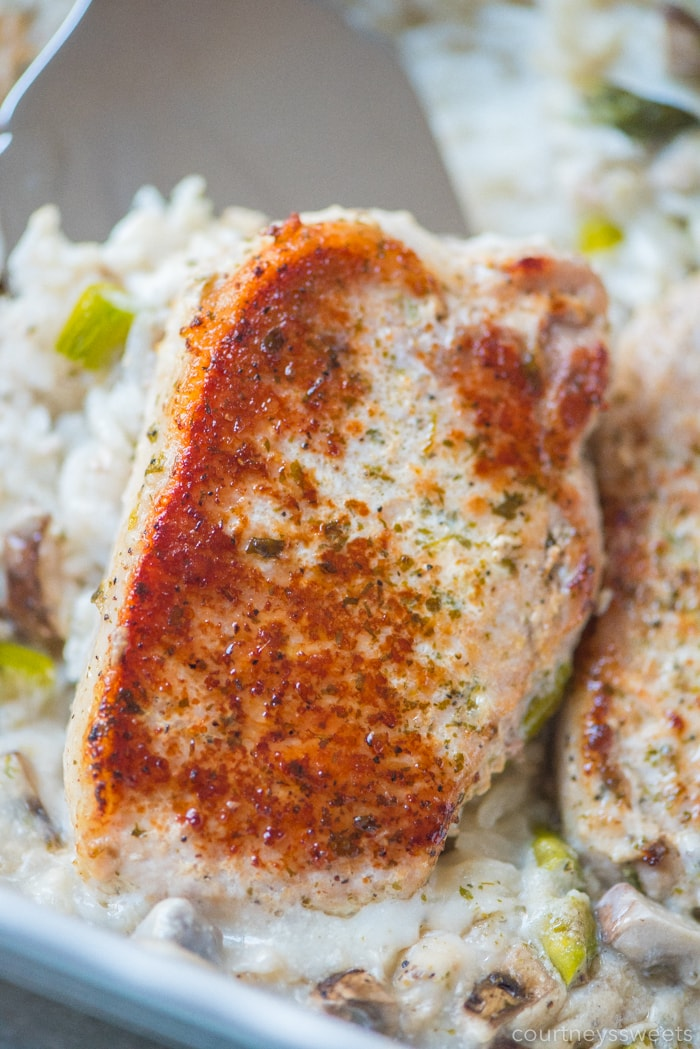 baked pork chops and rice on a spatula