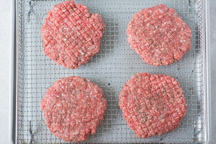 air fryer burgers on a rack