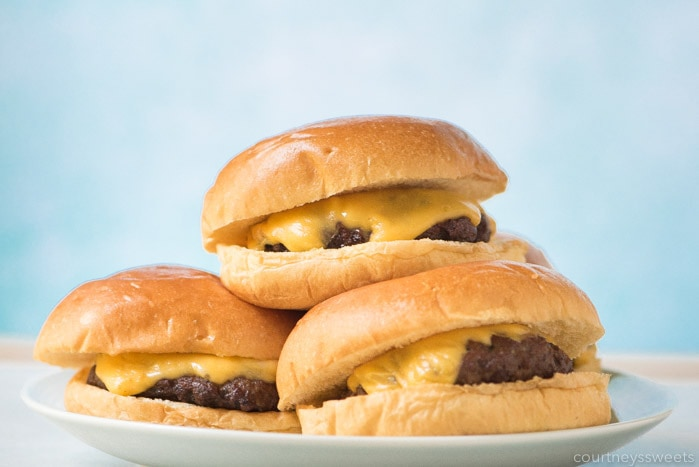 air fryer cheeseburgers on a plate