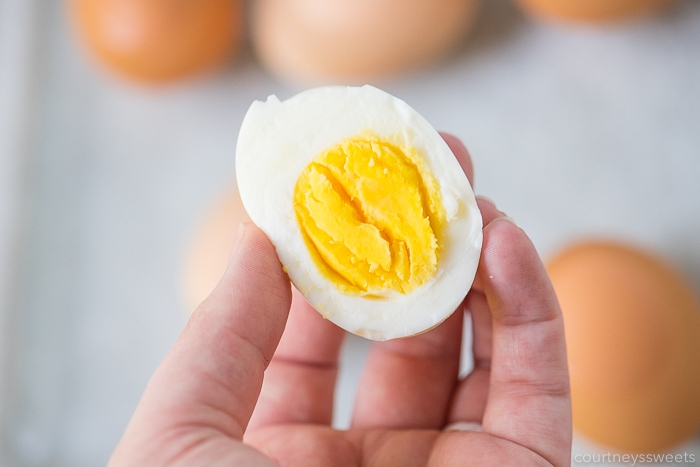 inside of hard boiled egg in air fryer