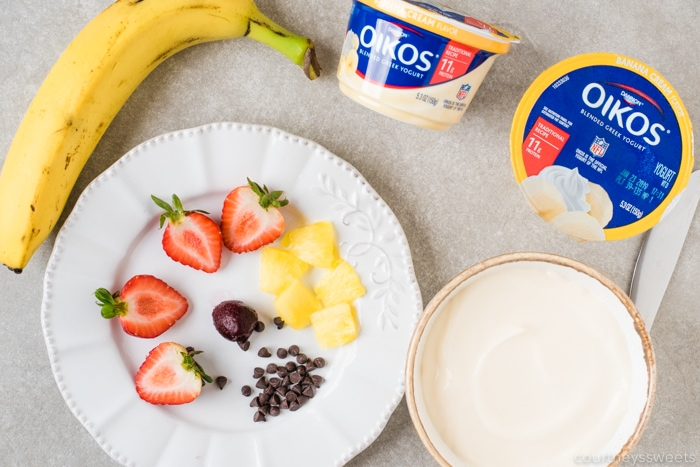ingredients for banana split yogurt breakfast bowl