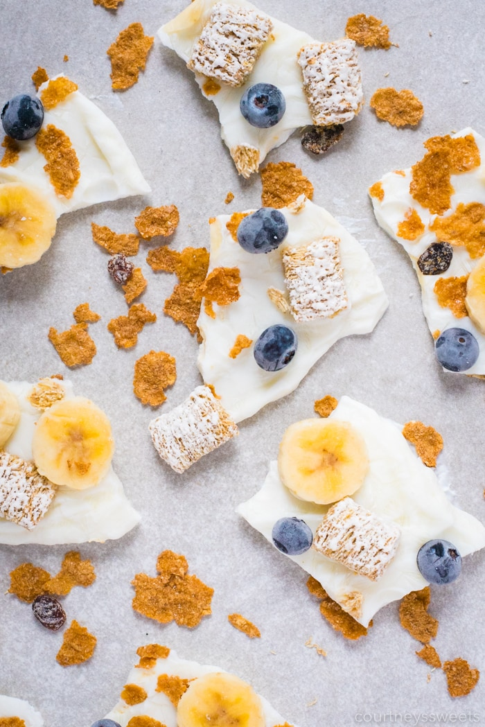 frozen yogurt bark breakfast cereal on a backdrop