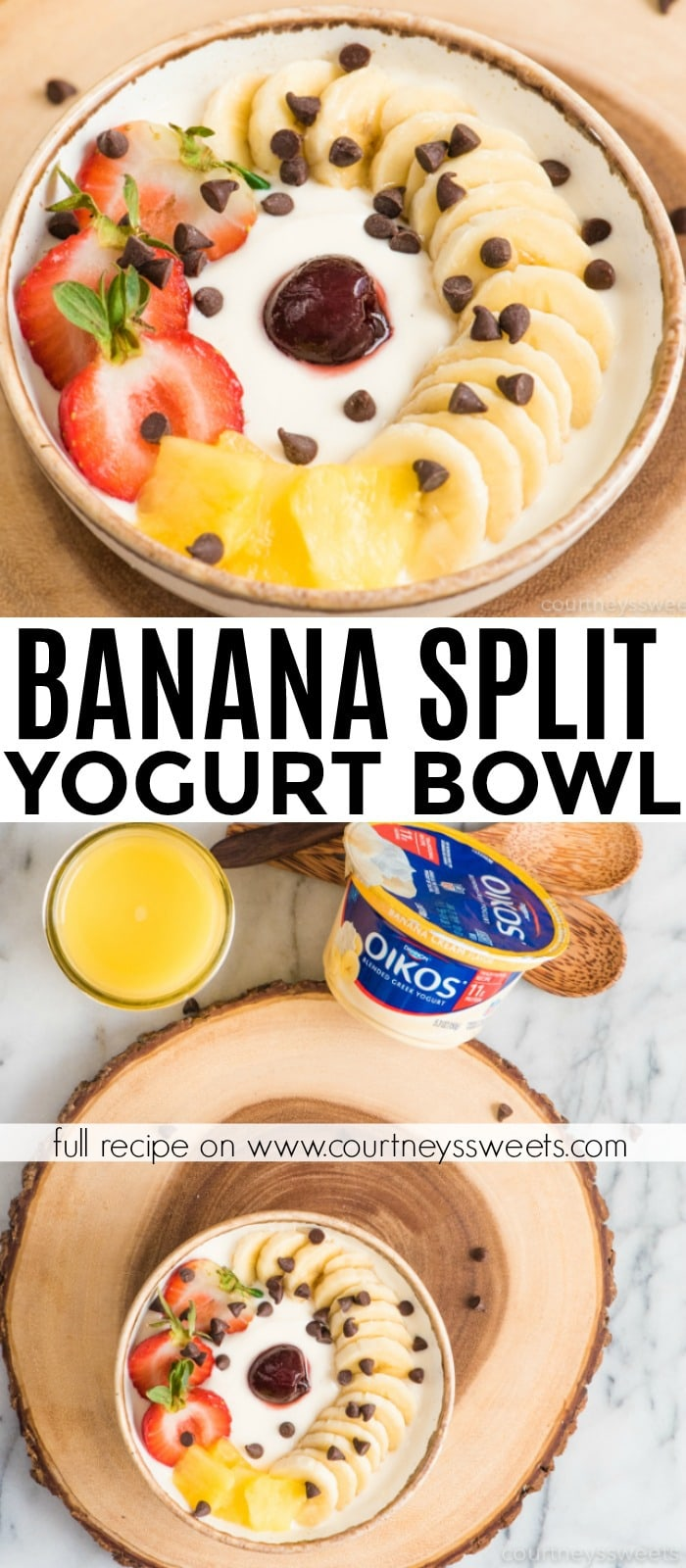 banana split yogurt bowl - easy breakfast bowl