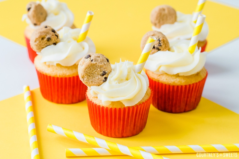 cake mix cupcakes with chocolate chip cookies and a straw