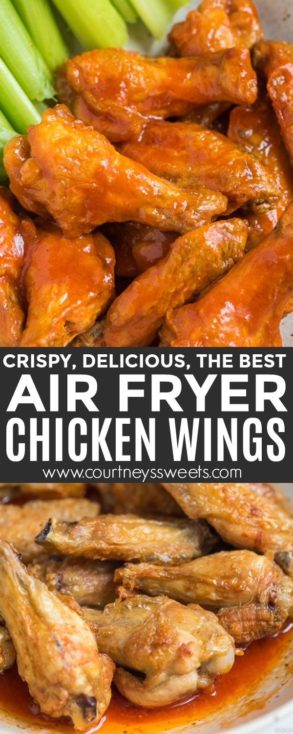 Air Fryer Chicken Wings, crispy wings with buffalo hot sauce