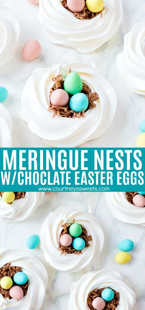 meringue cookie nests with chocolate eggs