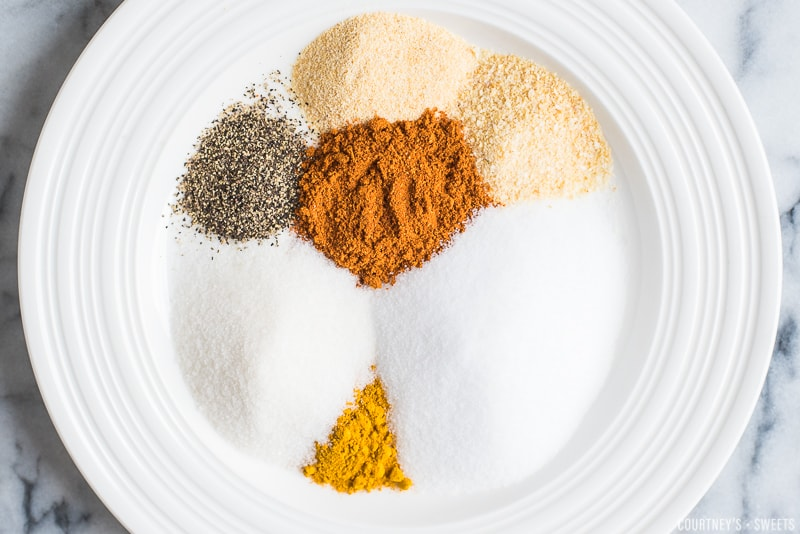 spices for seasoning salt on a plate