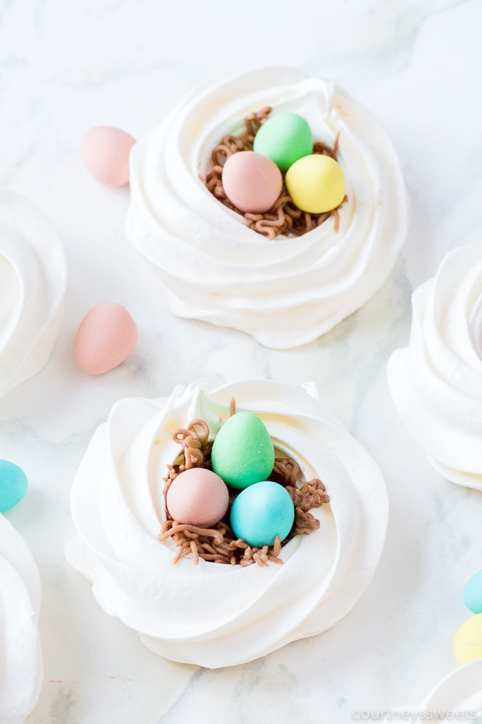meringue nests with chocolate eggs