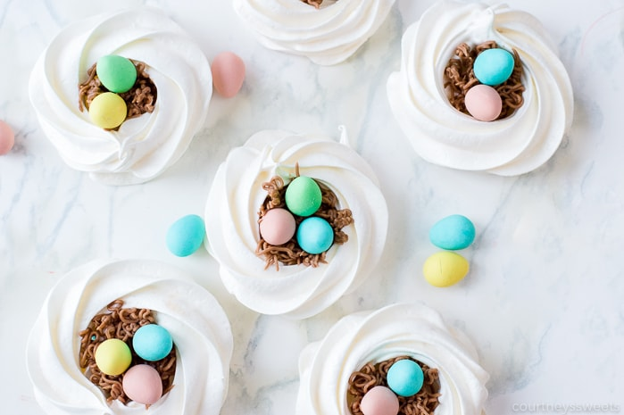 meringue cookie nests with chocolate easter eggs