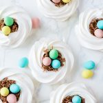 meringue nests with chocolate easter eggs