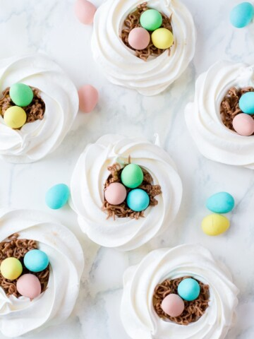 meringue nests with chocolate eggs