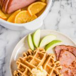 Fluffy Sweet Potato Waffles with Orange Brown Sugar Ham
