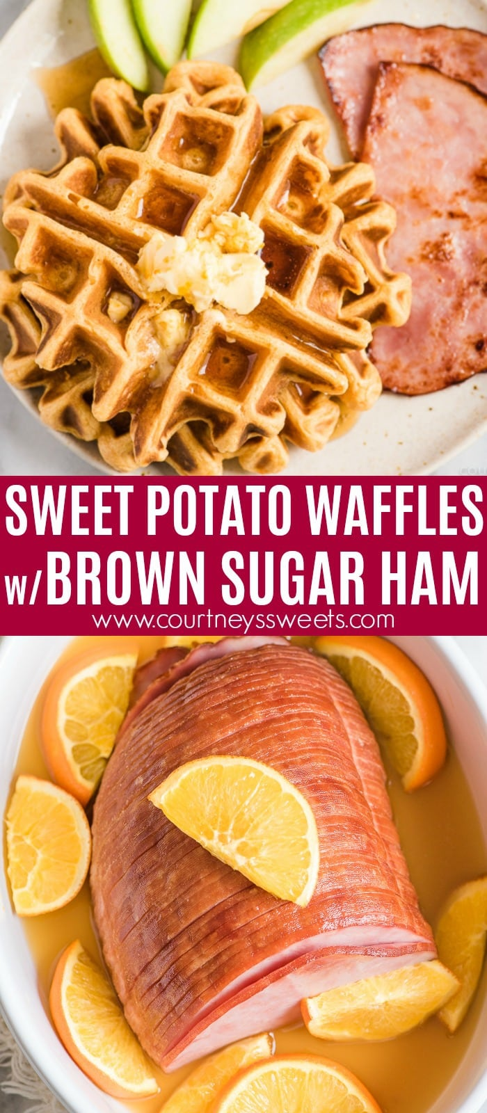 sweet potato waffles with baked brown sugar ham