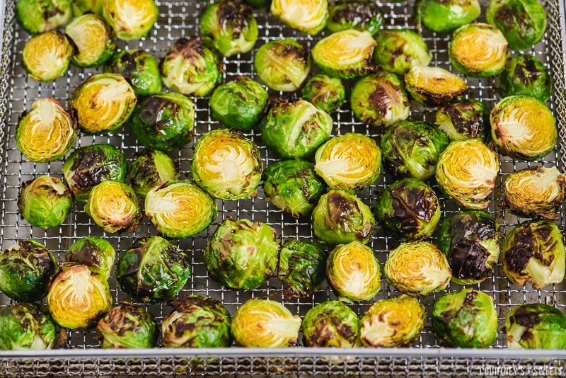 air fryer brussels sprouts in air fryer rack