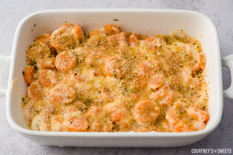 carrot casserole before baking