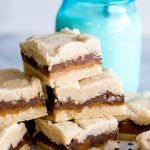 chocolate caramel bars with shortbread crust