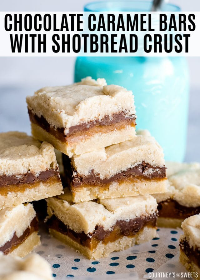 chocolate caramel bars with shortbread crust dessert