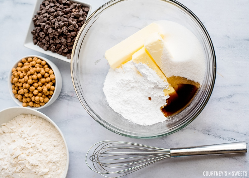 ingredients for chocolate caramel bars with shortbread crust