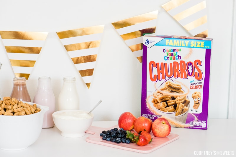 Cinnamon Toast Crunch Churro Cereal Breakfast Party spread