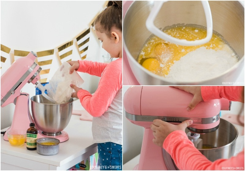 mini chef making white cake mix cookies
