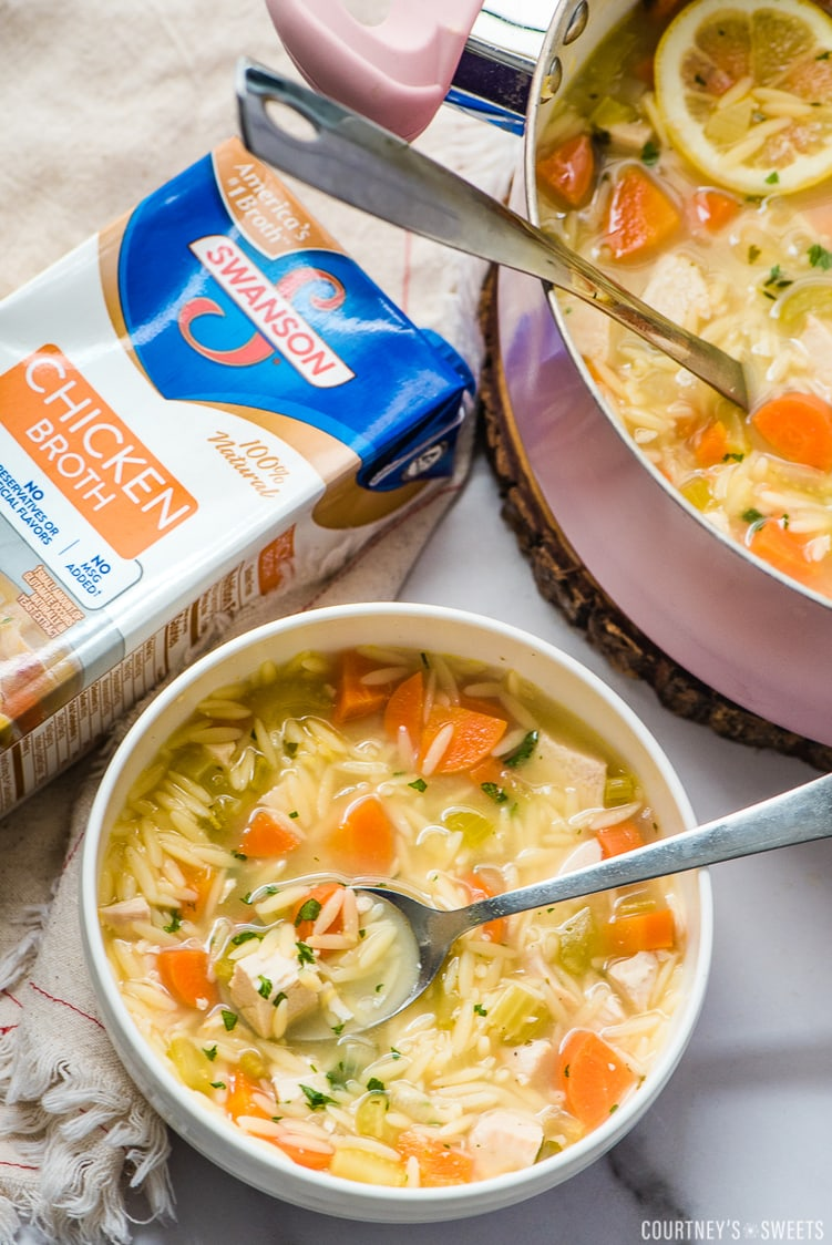 lemon chicken orzo soup in bowl with swanson chicken broth