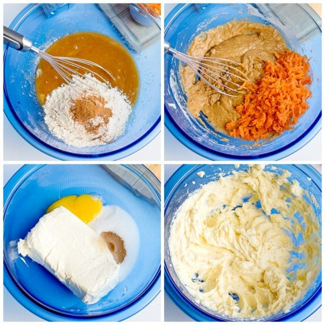carrot cake bars and cream cheese swirl batter in bowls